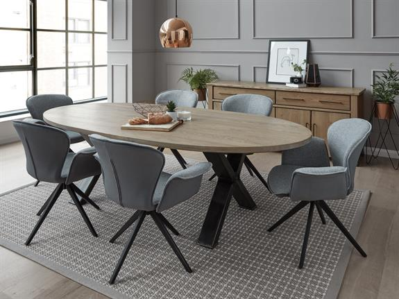 Oval Dining Table With Forged Steel Cross Legs