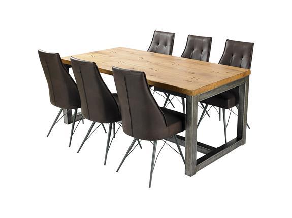 Ironoak Dining Table 6 Eiffel Chairs