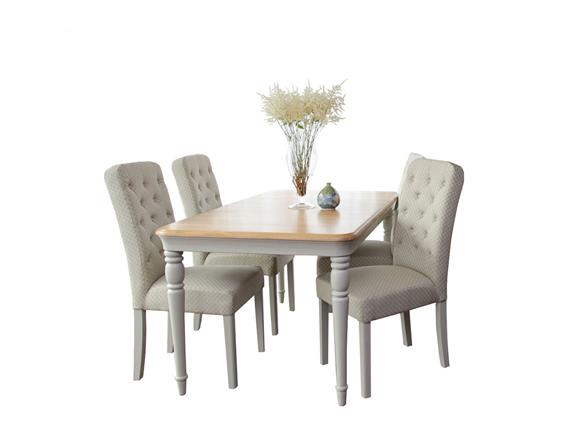 Extending Dining Table 4 Button Back Chairs