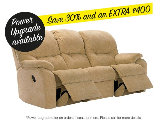 G Plan Mistral Fabric 3 Seater Power Double Recliner Sofa 2 Cushion
