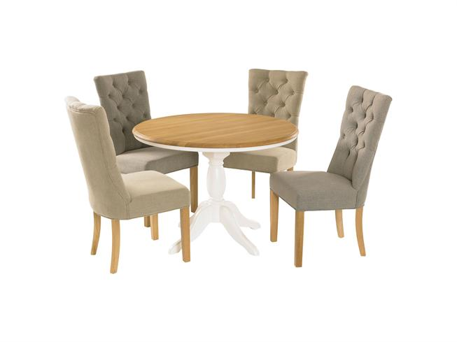Wellington Fixed Round Dining Table 4 Southwold Chairs