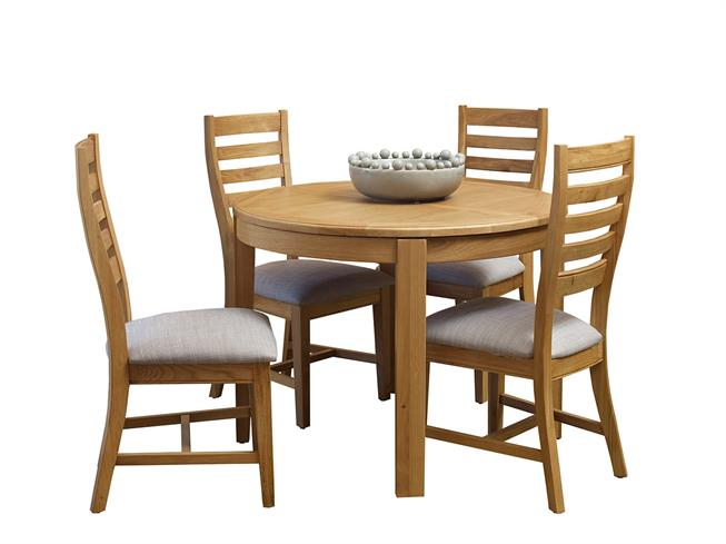 Round Extending Dining Table 4 Wooden Chairs